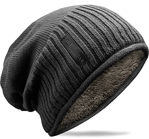 Grin&Bear weiches Unisex Slouch Beanie Mütze in Feinstrick mit warmem Fleece Innenfutter grau M31