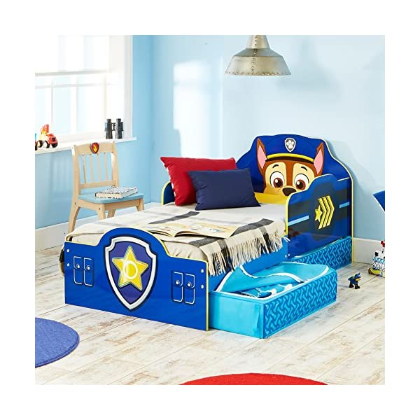 Paw Patrol Chase Kids Toddler Bed with Underbed Storage by HelloHome Paw Patrol Ideal transition from cot to bed - make the move to their first big bed magical with the Paw Patrol toddler bed with underbed storage from HelloHome, featuring Chase Takes cot bed size mattress - 140 (l) x 70 cm (w). Mattress not included. Assembled size (h) 68, (w) 77, (l) 145 cm Suitable for 18 months to 5 years, this blue kids bed is for your little Paw Patrol and Chase fan 4