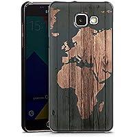 Samsung Galaxy A5 (2016) Housse Étui Protection Coque Carte du monde Bois Terre
