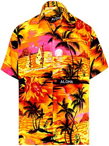 LA LEELA männer Hawaiihemd Kurzarm Button Down Kragen Fronttasche Beach Strand Hemd Manner Urlaub Casual Herren Aloha Orange_476 5XL Likre 1896 - 5x Mantel Herren Winter