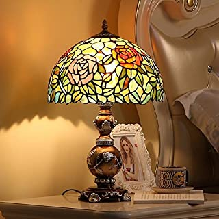 Tiffany-Style Table lamp/European Creative Garden Bedroom Bedside lamp/Energy-Saving Art Glass Table lamp Vintage-A
