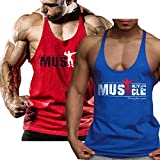 Alivebody Herren Bodybuilding Tank Top Strap Fitness Stringer Achselshirts Blau+Rot S