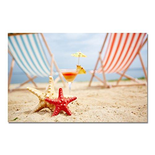 Design Poster Druck auf echtem Fotopapier - Strand / Mehr / Palmen / Urlaub, Design:Design 3, Format & Größe:60 x 50 cm | Rahmenformat