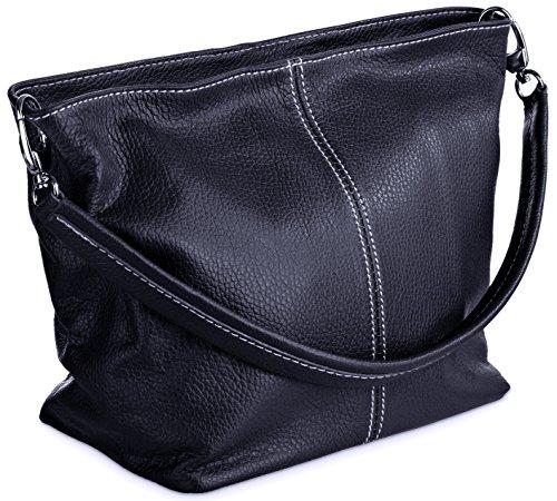 DELARA Piccola borsa shopper in pelle, Made in Italy. Color cachi blu marino