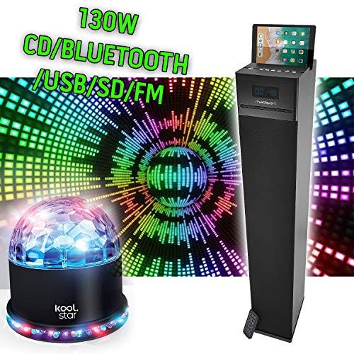 Hifi Home Sound Multimedia-Sound-Tower 130 W - CD/Bluetooth/USB/SD/FM/MADISON CENTER130CD-BK + Sunmagic Spiel -