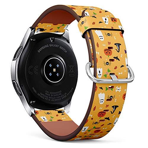 mit für Samsung Galaxy Watch (46MM) - Leder-Armband Uhrenarmband Ersatzarmbänder mit Schnellverschluss (Halloween-Postkarte) ()