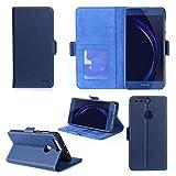 Huawei Honor 8 4G / Honor 8 Premium : Housse Portefeuille luxe bleue Cuir Style avec stand - Etui coque de protection Honor8 bleu avec porte cartes - Accessoires pochette XEPTIO : Exceptional case !