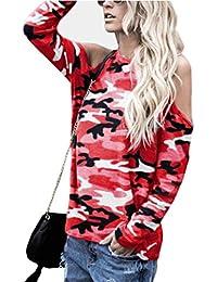 Damen Bluse Tiefer V-Ausschnitt Shirt Asymmetrisch Lang Streifen T-Shirt Tops PD