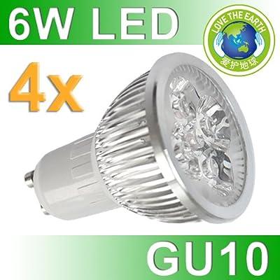 4 Stücke 6W High Power Reinweiß GU10 LED Strahler Spot Lampe (420lm - reinweiß - 60º Abstrahlwinkel - GU10 Sockel - 230V AC - 6W - Ø50×58mm)