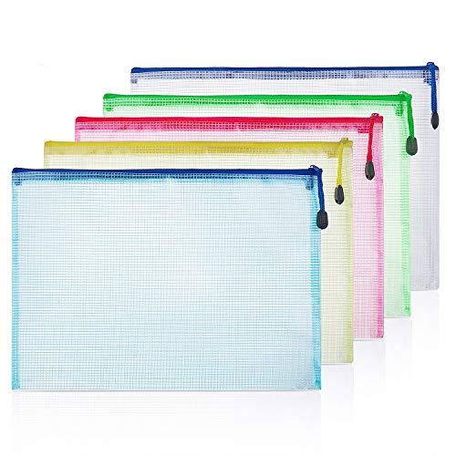 Reißverschlusstasche A4, ZWOOS Bunt Dokumententasche Sammelmappemit mit Reißverschluss (10 Stück)