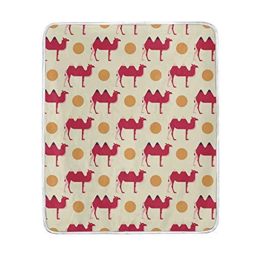 Wamika Wohndekor, rote Kamel mit gelben Punkten, weiche warme Decke, für Bett Couch Sofa, leicht, Reisen, Camping, 152,4 x 127 cm, Überwurfgröße für Kinder, Jungen und Frauen