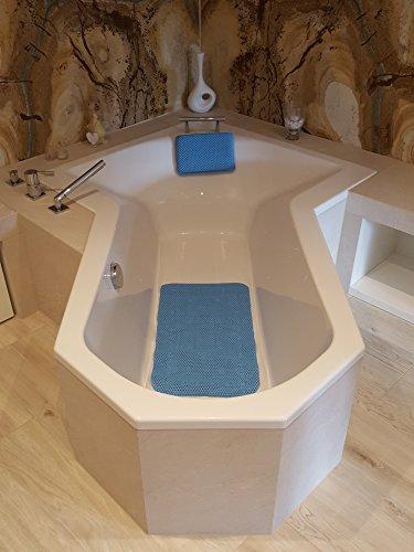 Leyna Badewannenkissen/Badewanneneinlage/Badeinlage/Wannenkissen/Einzeln oder im Set (Blau, Set Kissen und Einlage)