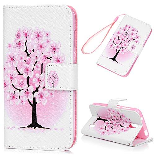 Huawei Y625 Hülle Leder Case,KASOS Huawei Y625 Handyhülle Bunt Gemalt Ledertasche Book Type PU Leder +TPU Innere Tasche Brieftasche und Magnetverschluss Schutzhülle,Pflaumenbaum