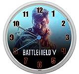 LL Wanduhr Battlefield V Design ca. 20 cm Durchmesser mit lautlosem Uhrwerk Unisex Kinderzimmer Büro Arbeitszimmer BF 1 BF 4 BF 3 T3 (Orange)