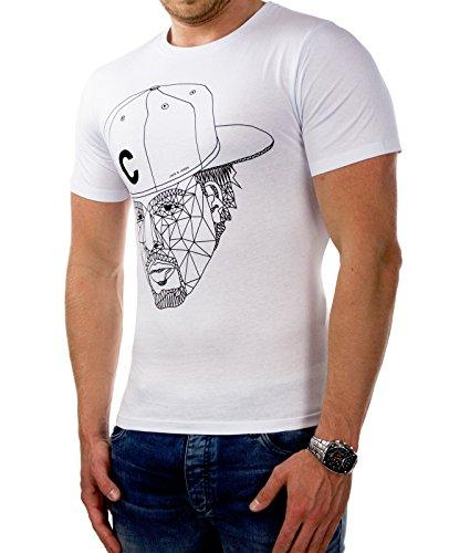 JACK & JONES Herren T-Shirt jcoMORGAN kurzarm Shirt Hemd Slim Fit Print Weiß (Herstellerfarbe: White)