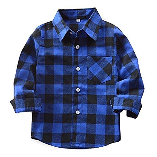 HAOKTY Jungen Mädchen Langarm Hemden Plaid Kariert Freizeithemd Tops Baumwolle Sweat Shirt (Color 5, 160) - Plaid Pullover