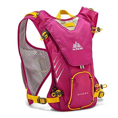 FlightBird Outdoor Wasserdicht Lauf-Marathon 8L Trinkrucksack Rucksack Leichte Wanderung + 1.5 Liter Wasser Tasche f¨¹r Frauen & M?nner 16.5x9.8inch Rose red