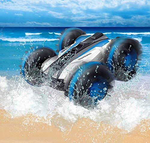 Wesxm Wasserdichtes Stunt-RC-Auto mit 2 Seiten, die auf Wasser und Land Fahren Elektrisches Stunt-Auto für Kinder 2.4G 360 ° drehbare ferngesteuerte Amphibienfahrzeuge