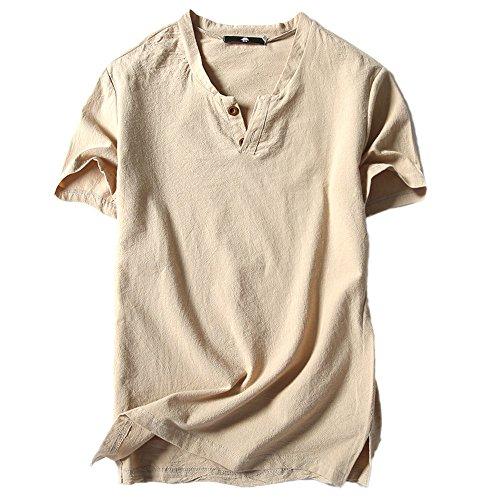 UFACE Herren Solide Baumwolle Leinen Yoga Bluse Langarm, Herren Sommer T-Shirt Baumwolle Leinen Thai Hippie Shirt V-Ausschnitt Strand Yoga Top Bluse t-Shirt Herren weiß t-Shirt Herren v-Ausschnitt
