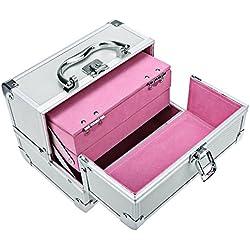 BATHWA Aluminium Kosmetikkoffer Schmuckfach Schminkkoffer Kosmetic Makeup Storage Beauty Case 20 x 15.5 x 15.5 cm, Silber (innen Rosa)