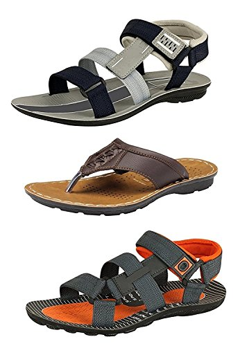 Tempo Men's Stylish(SUPER-54GRY/POWER-10ORG/ODI) 2 Sandals & 1 Slippers-10  available at amazon for Rs.499