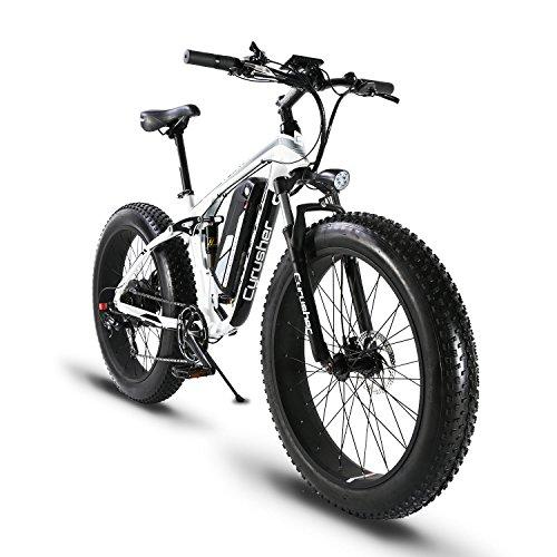 extrbici xf8001000W 48V 13Ah E-Bike 26'Aluminium Legierung Rahmen Fat Bike, Cruiser 7Geschwindigkeiten Shimano Shift System bis 31MPH eBike 5Fassungen Smart Computer Öl Hydraulische Power Off Bremse, Xf800, weiß