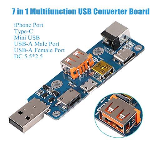 USB Tester Converter Board, 7 in 1 Multifunktions USB Tester Meter Multimeter Amperemeter Kapazität Monitor Instrumente Teile Typ-C Micro USB Mini USB DC PD Kabel Adapter Konverter Board