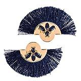 QiXuan Las mujeres bohemias 14K chapado en oro Sector borlas Pendientes Relleno incrustado Cubic Zirconia cuelgan los pendientes de gota (azul marino)