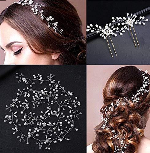 ZesNice Haarschmuck Hochzeit, 50cm Haardraht und 2 Stück Haarnadeln, Perlen Strass Brautschmuck Braut Haarkamm Haarclip für Frauen und Mädchen