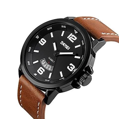 koiiko SKMEI Herren 98ft 30m Wasser beständig Analog Quarz Uhr mit weißem Zifferblatt Analog-Anzeige und braunem Lederband, Brown 1