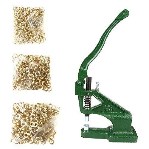flexzion Tülle Maschine Kit mit 3stirbt (# 0# 2# 4) Sets Tüllen & 900teilig Messing Golden Öse Hand drücken Sie Flagge Banner Loch, um Punch Werkzeug für Tags Taschen Vorhänge Riemen