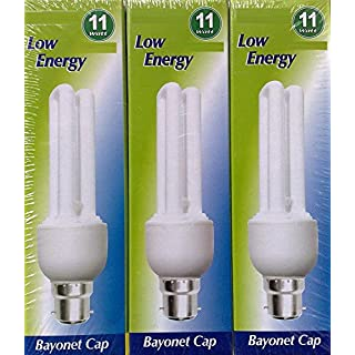 3 x STATUS 11W (=60W) BC B22 CFL Energy Saving Light Bulbs, Bayonet Cap, 710 Lumen, 10 Years, 827 2700K Warm White