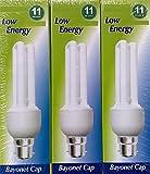 STATUS Energiesparlampe, 3 x 11 W (entspricht 60 W), Kerzenform, BC, B22 CFL Energiesparlampe, Bajonettsockel, 710 Lumen, 10 Jahre, 2700 K/827 Warm-Weiß