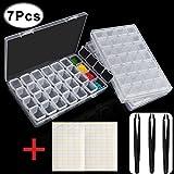 Outee 3 Pack 28 Rejillas Caja de Pintura Diamante Diamante de Almacenamiento Pintura Accesorios de Diamante con 3 Paquete de Pinzas y 168 Piezas Etiqueta del Arte Marcador Etiqueta