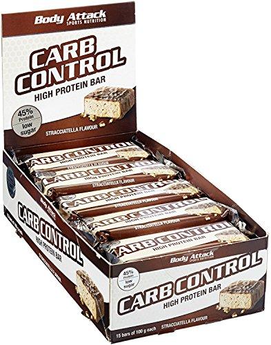 Body Attack Carb Control Protein Riegel 20x 100g, Stracciatella, 20x100g (Carb Control)