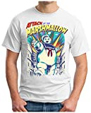 OM3 - Marshmallow-Attack - T-Shirt Stay TUFF Mutant Marschmallow Man Ghost Comic Game USA Fun Geek, S, Weiß