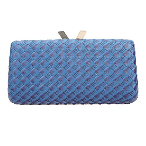 Bonjanvye Kiss Lock PU Leather Weave Handbags For Women Blue Blue