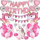 SPECOOL Licorne Ballons Anniversaire Décoration, Banderole Joyeux Anniversaire Kit Set-Rose Cute Foil Licorne Cheval Coeur Ballons Fournitures de Fête pour Filles Garçons Bébés Adolescents
