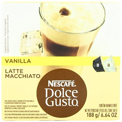 Nescafe Dolce Gusto for Nescafe Dolce Gusto Brewers, Vanilla Latte Macchiato, 16 Count (Pack of 3) FlavorName: Vanilla Latte