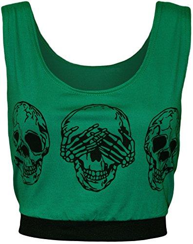 WearAll - Haut court sans manches avec l'image du crâne - Hauts - Femmes - Tailles 36 à 42 Vert