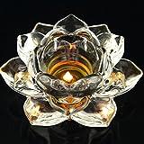 12,7cm Cristal Fleur de Lotus bougeoirs en verre Photophore de méditation Supports de bougies de Noël Décoration de table Lot de 2