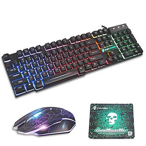 FELiCON® Gaming Teclado Ratón Combo Rainbow LED