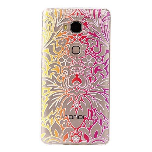 Huawei Honor 5X Hülle,Honor 5X Case,Huawei Honor 5X Silikon Hülle [Kratzfeste, Scratch-Resistant] , Cozy Hut® Ultra Dünn [Crystal Clear] Soft Flex Silikon Handyhülle / Bumper-Style Premium-TPU Silikon / Perfekte Passform / Durchsichtige Schutzhülle HandyTasche Schutzhülle Hülle Case Cover für Huawei Honor 5X (5,5 Zoll) - Phoenix Blumen