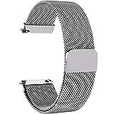 Fullmosa Milanese 22mm Uhrenarmband, Milanese Smart Watch Armand Ersatzband mit Edelstahl Magnet-Verschluss für 22mm Silber