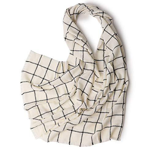 Damen Mädchen Wolle Plaid Schal Schals Stola Damen Winter Warm Quasten Stilvolle Lange Wrap Schal,White-200 * 70cm -