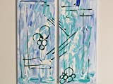 Abstraktes Acrylbild 2-teilig in blau-grün 60x70 cm