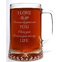 (FBA) grabado I Love You vaso de pinta jarra de cristal para día de San Valentín/regalo de cumpleaños