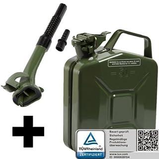 Oxid7® Benzinkanister Kraftstoffkanister Metall 5 Liter Olivgrün mit UN-Zulassung inkl. Ausgießer - TÜV Rheinland Zertifiziert - Bauart geprüft - für Benzin und Diesel
