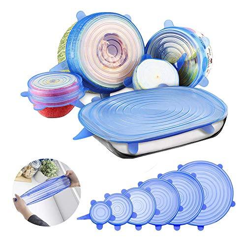 Coperchio in silicone estensibile, pezzi di diverse dimensioni coperchi in silicone stretch,riutilizzabile ed ermetico utilizzabili in microonde, frigorifero e freezer lavabili in lavastoviglie (blu)