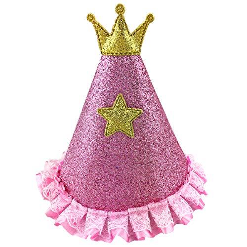 Katze Haustier Geburtstag Hut mit Krone Stern und Spitze für Hunde Katzen Haustiere, S2, Rose ()